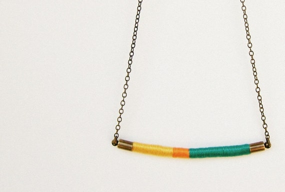 DAVIS necklace - textile and leather with antiqued brass chain (teal tangerine goldenrod)