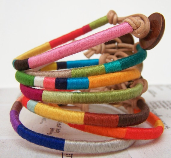 DESIGN YOUR OWN Custom Cooper bracelet - textile, leather, button, handmade jewelry