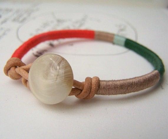 READY TO SHIP - Cooper bracelet - leather wrap, button closure (persimmon stone seafoam hunter), handmade jewelry