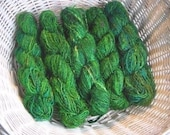 Recycled Silk Sari Yarn - green, 2 skeins
