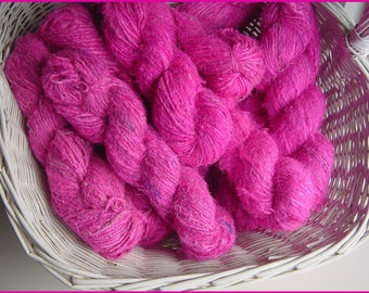 HANDSPUN, Recycled  SILK  Sari YARN - Pink  2 x 100gm skeins