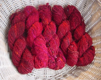 HANDSPUN  , Recycled SILK YARN - Red  2 x100gm skeins