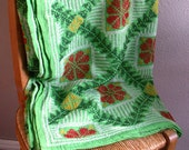 Hand Embroidered Green Kantha Quilt  -free shipping-