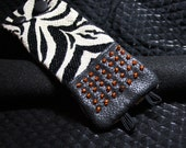 Fiber Bracelet - Faux Leather and Zebra Animal Print with Seed Beads - Bangle - Cuff