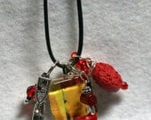 Charm Necklace - Rubber Cord - Beads - Crystals, Stones and Square Charm