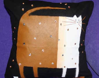 Cat Pillow - Black Canvas - Fat Cat 14 x 14 inch   Black - Brown - Cream