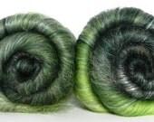 Green Gradient batt set - sw merino, lincoln locks, bamboo, faux cashmere - 4.05oz