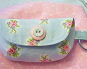 Darling Little Keychain Clutch Coin Purse....Vintage Look Fabric...Blue and Pink