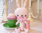 Precious Little Stuffling Bunny...Pink...Hand Sewn...Darling for Spring