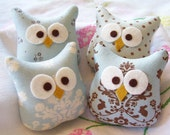 Owls...Four Little Blue and Brown Stuffed Owl Ornaments