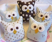 Owls...Five Little Blue and Brown Stuffed Owl Ornaments