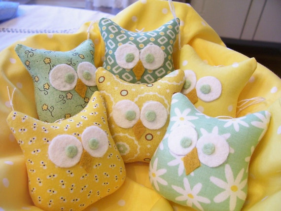 6 Darling Little Owl Ornaments .....In Greens and Yellows....Think Spring...Soooo Cute