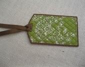 Green floral bag tag
