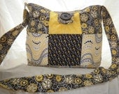 Black and Yellow Quilted Hipster Shoulder Bag/Purse Adjustable Strap