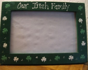 St. Patricks Day OUR IRISH FAMILY - St Patrick's Day personalized room decor photo picture frame