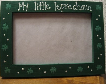 St. Patrick's Day frame MY LITTLE LEPRECHAUN -  baby Irish personalized photo picture frame