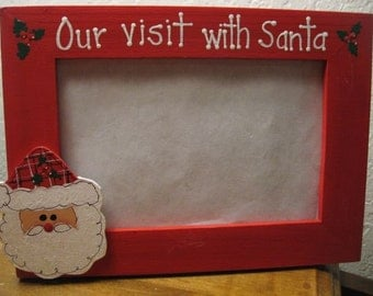 Our visit with Santa -Christmas frame Merry Christmas holiday family photo picture frame