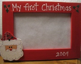 My first Christmas - handpainted Christmas frame personalized baby holiday photo picture frame