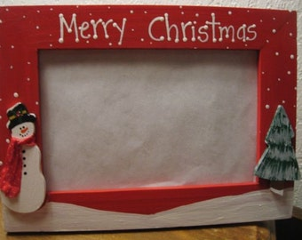 Merry Christmas - Christmas frame holiday family hand painted snowman photo picture frame