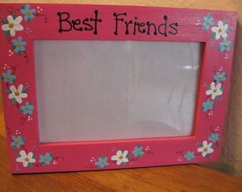 Best Friends frame - hand painted BFF friends forever personalized photo picture frame