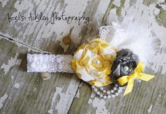 Fun bright yellow and gray shabby chic flower cluster on a soft headband