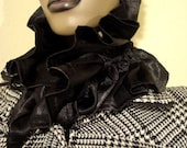 Rococo Ruffle Satin leather-embossed scarf