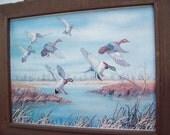 Vintage Art, Picture - Flying Ducks On Marshland-Copyright 1979- Wood Frame