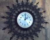 Vintage Retro Black Burwood Starburst Wall Clock