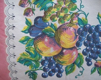 Vintage Midcentury Peaches and Grapes Linen Square Tablecloth