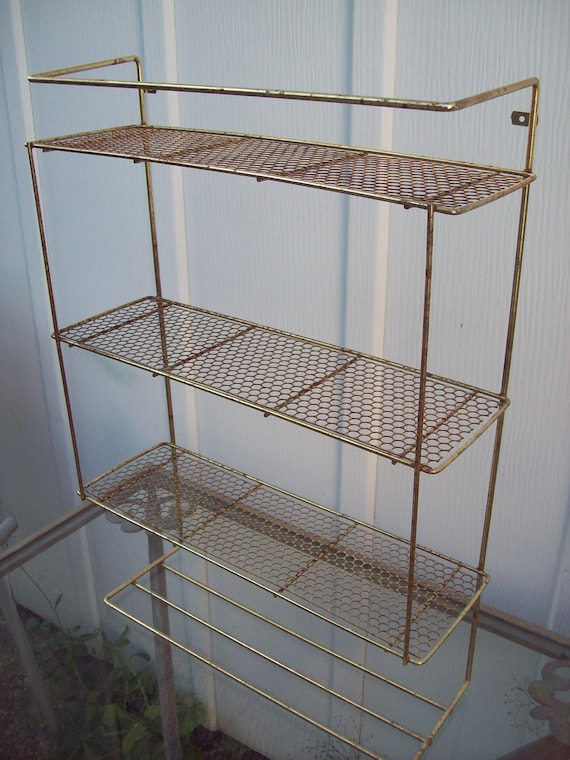 Vintage Gold Toned Three Level Metal Shelf