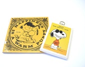 vintage Snoopy Braces Make Beautiful Faces plaque with Vintage Happiness is a Warm Puppy book