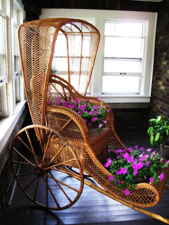 Items Similar To Vintage Wicker Rickshaw On Etsy