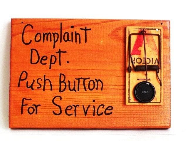 Mouse Trap Decoration Complaint Department Push Button For