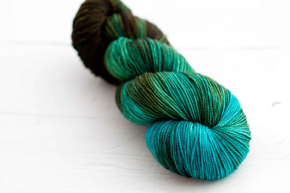 Merino Nylon Sock Yarn 'chocolate teal'