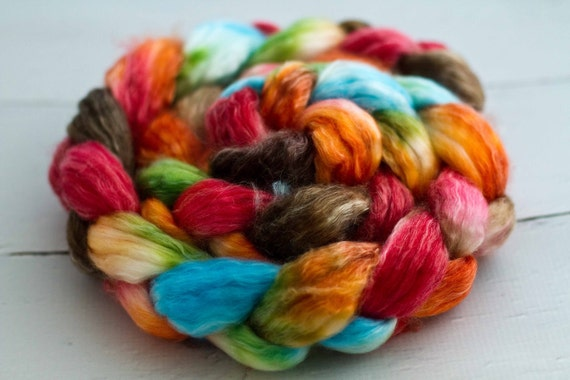 superwash merino/tencel spinning  fiber 'rustic rainbow'