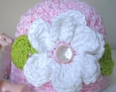 Teeny Beanie Sugar and Spice Girls Beanie with Flower Size Newborn to 3 months