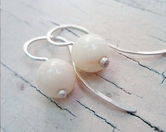 white blush coral bead earrings