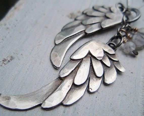 RESERVE for Danielle - silver wings pendant, petite blackbird