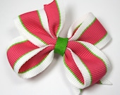Hot Pink and Lime Green Toddler Hair Bow