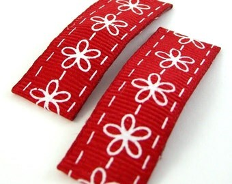 Snap Hair Clips - Set of 2 - Red and White Flower Garland Barrettes