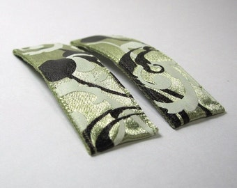 Snap Hair Clips, Olive Green with Black and White Vines - set of two