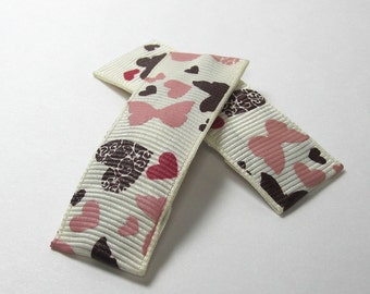 Hearts and Butterflies in Pink and Brown - Naughty and Nice Valentine's - set of two