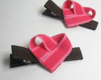 Ribbon Heart Hair Clips, Pink - Set of two
