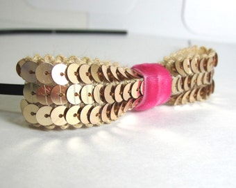 Gold and Pink Bow Headband. Sequin and Velvet Headband. Diva Fascinator.