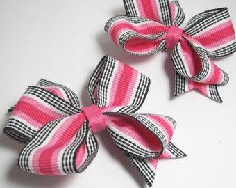 Hot Pink and Black Princess Hair Bows - set of two