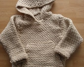 PDF crochet PATTERN childs hooded pull over 4 sizes included