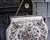 Floral Rose Design Needlepoint Purse - French Chic  RESERVED for Kylie Henry