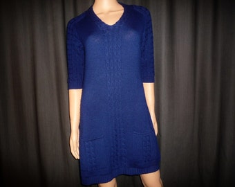 "TRUE BLUE - Vintage 60's - BLUE - Micro -Mini - Cable Knit - Sweater - Tunic - Mod - Dress - 35"" - 37""bust"