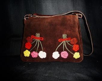 Garden FLOWER - Vintage 60's - Chocolate Brown - Suede - Embellished - Floral - Crochet - Satchel - Bag