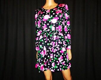 "Hits the Spot POLKA- Dot - Vintage 60's - Sheer - POLKA- Dot - Floral Print - Mini Dress - in Hot Pink - Black - Green - White - 40"" bust"